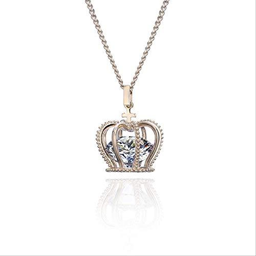 Luxus Big Zirkonia Crown Anhänger Halskette Britische Krone Anhänger Lange Neckalce Für Frauen Hochzeit Schmuck Kaffee Gold