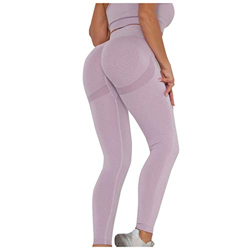 SHOBDW Pantalón Deportivo de Mujer Cintura Alta Leggings Mallas para Running Training Fitness Estiramiento Zumba Yoga y Pilates Pantalón Medio Multicolor(Morado,M)