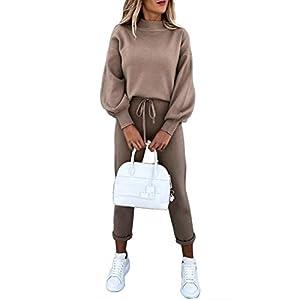 Women's Sweatsuits High Neck Long Sleeve Top and Pants Set 2 Piece Ou...
