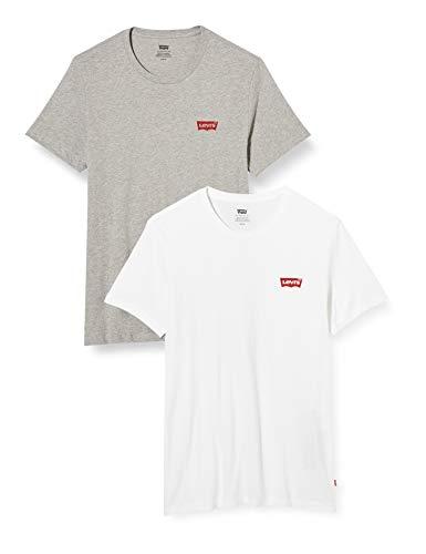 Levi's 2pk Crewneck Graphic Camiseta, Multicolor (2 Pack Hm White/Mid Tone Grey Heather 0001), Large...