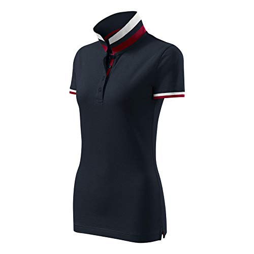 Adler Modisches Damen Poloshirt Collar Up - Super Premium Stoff & Shirt Schnitt | 100% Baumwolle | S - XXL (257-Navy-L)