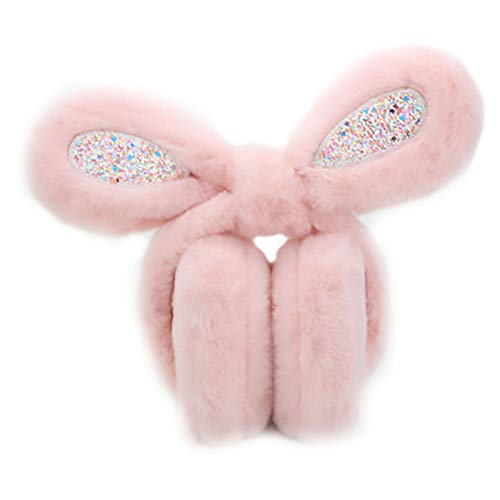 LRL Ohrabdeckungen Ohrenschützer - Warm Plüsch Unisex Sweet Stil Feste Farbe Kaninchen Faltbare Weiche Einstellbare Winterzubehör Warmes Zubehör im Freien. (Color : Pink, Size : Children)
