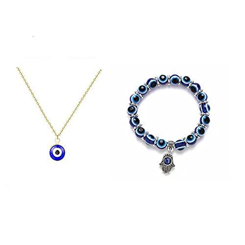ZYANUGR Conjunto de Pulsera de Collar de Ojo Malvado para Hombres y Mujeres, Pulsera de abalorio de Ojo Azul de Hamsa elástico de Amuleto de la Suerte (2PCS)