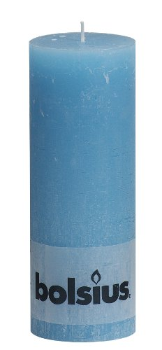Bolsius RUSTIC 103868000359 Pillar Candle, Paraffin Wax, Aqua
