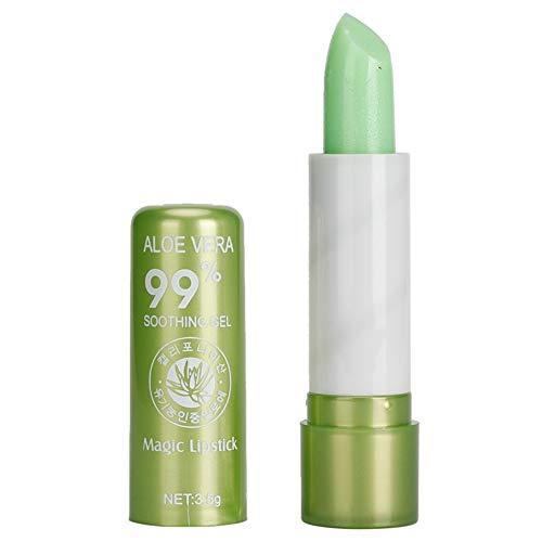 Bálsamo labial hidratante natural que cambia de color de aloe vera, lápiz labial brillante, herramienta de maquillaje de belleza, 0,15 g, paquete de 1