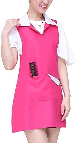 Schürzen Lätzchen Für Frauen Mit Werkzeugtaschen Mode Professionelle Haar Nagel Schönheitssalon Küche Catering Kellner Arbeitskleidung, 3 Farben (Farbe: Rot, Größe: 78X64 cm)