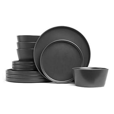 Stone Lain 12 Pieces Stoneware Round Dinnerware Set, Black Matte