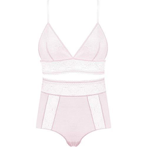 xbowo-Appeal Erotische Dessous Cosplay Sexy Pinke Unterwäsche mit hoher Taille ohne Stahlring-BH mit tiefem V-Ausschnitt-Clear_M
