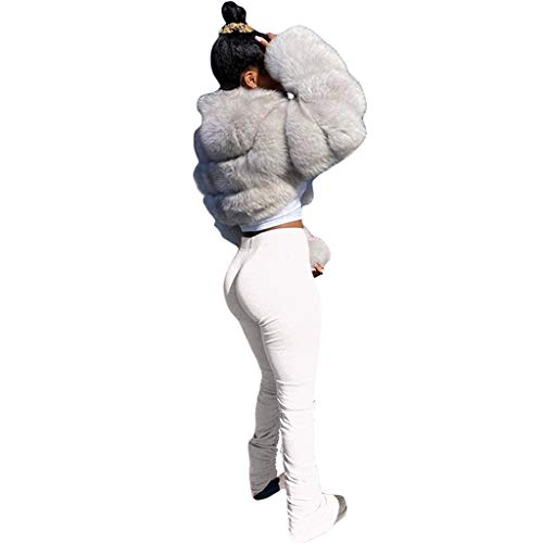 Janly Clearance Sale Pantalones de yoga para mujer, pantalones de correr, correr, correr, correr, correr, yoga, deporte, leggings apilados, para otoo (blanco-S)