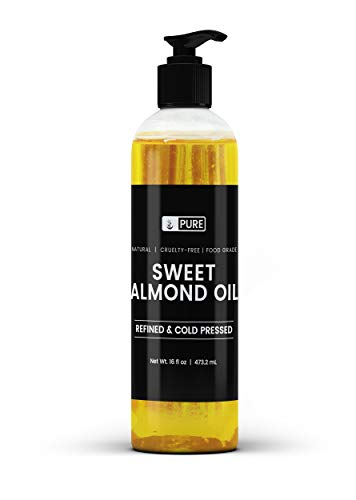 Natural Sweet Almond Oil, 16 fl oz, Cold-Pressed, Fragrance-Free, Lab-Tested, No Additives, No Preservatives & Cruelty-Free, US Made, BPA-Free & Recyclable Bottle