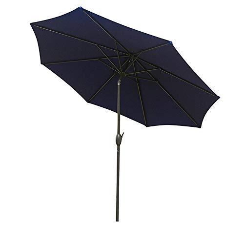 9ft Outdoor Market Table Umbrella Patio Umbrella with PA Coating Push Button Tilt Crank Umbrella for Garden, Pool, Beach, Street, Lawn (Navy Blue)