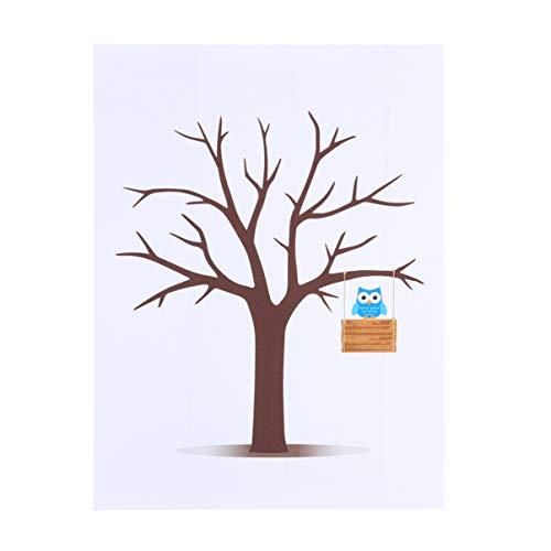 NUOBESTY Árbol de Huellas Dactilares Boda Libro de Visitas Lienzo Firma Libro de Visitas Árbol de Huellas Dactilares Libro de Visitas Personalizado para Deshierbe Fiesta Baby Shower (30 X 40 Cm)