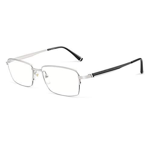 HQMGLASSES Gafas Lectura al Aire Libre fotocrómica multifocal progresiva Titanium Puro los Hombres, Marco clásico Negocios Ocio 1.56 Lente Resina asférica Gafas de Sol Diopter +1.0 a +3.0,Plata,+2.0