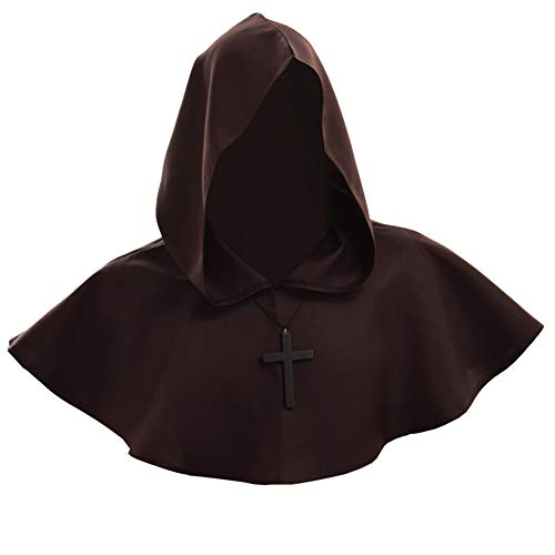 BLESSUME Medieval Hooded Cowl Cross Necklace