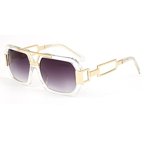 SHEEN KELLY Hexagon Retro Rechteckig Sonnenbrille Damen Herren Metall Brillen Gold Herren Square Brille Luxus Transparente