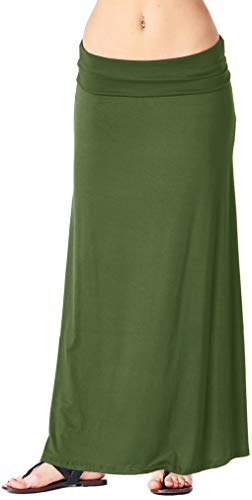 Popana Womens Long Maxi Skirt Casual Convertible Sundress Plus Size Made in USA Olive 2X