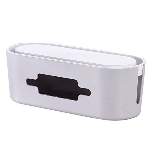 Yuvera Caja de almacenamiento multifuncional para cables con cable de extensión USB, caja de almacenamiento de cables de extensión limpia y ordenada
