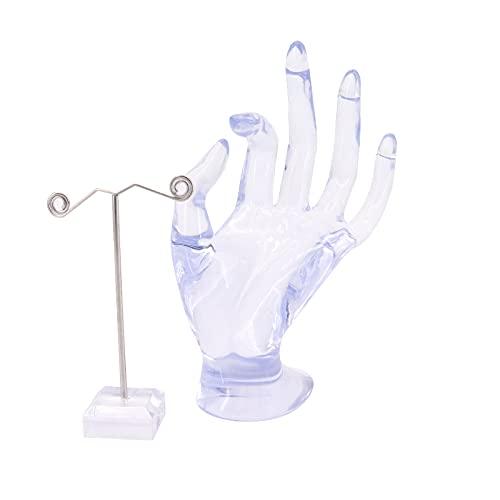 Shawfly - Espositore per gioielli, modello alla moda, con funzione OK Gesture, espositore per gioielli, orecchini, bracciali, anelli, artigianato, espositore per vetrine, in plastica (trasparente)