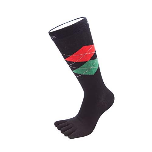 TOETOE® - Chaussettes Mi-Mollet à Cinq Doigts en Argyle de Tous les Jours pour Hommes (Noir-Rouge-Vert, 41-48)