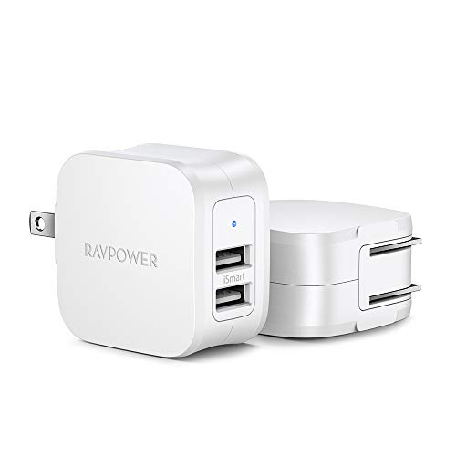 USB Charger, Charger Adapter, RAVPower 2-Pack Dual Port 17W Wall Charger, iSmart 2.0 Compatible with iPhone Xs Max/XR/X, Galaxy S9/S8, HTC, LG, Huawei, Moto and More (White)