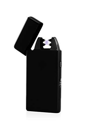TESLA Lighter TESLA Lighter T05 Lichtbogen Feuerzeug, Plasma Single-Arc, elektronisch wiederaufladbar, aufladbar mit Strom per USB, ohne Gas und Benzin, mit Ladekabel, in edler Geschenkverpackung Schwarz Schwarz