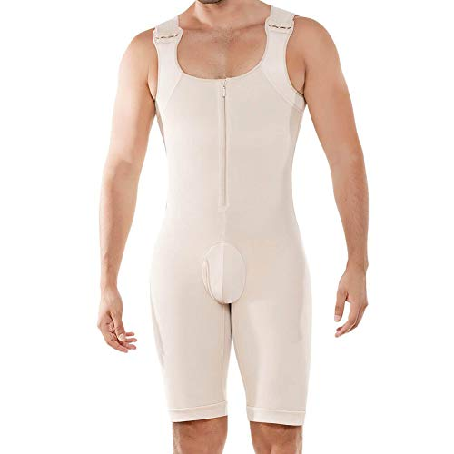 Mens Extreme Gynecomastia Pre-Surgical Post-Surgical Chest Binder Bodysuit Beige XXL