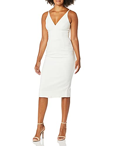 Dress the Population Women's Lyla Plunging Sleeveless Fitted Midi Sheath Dress, Off White, S