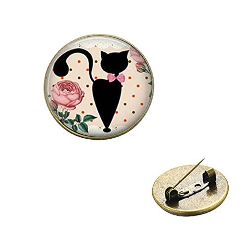 Broche de dibujos animados de gato negro con diseño de flores dulces Kawaii Animal Pet Girls Denim Chaquetas Pin solapa insignia mochila accesorios