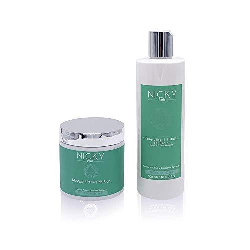 Shampoing + Soin Masque Pack RICIN - Nicky Paris Cosmetics - Huile de Ricin - Pousse des Cheveux - Fortifiant