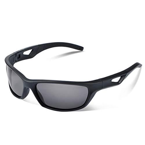Vimbloom Sonnenbrille Herren Polarisierte Sportbrille Fahrradbrille mit UV 400 Schutz Autofahren Laufen Radfahren Angeln Golf für Herren Damen VI685 (SchwarzeMatte)