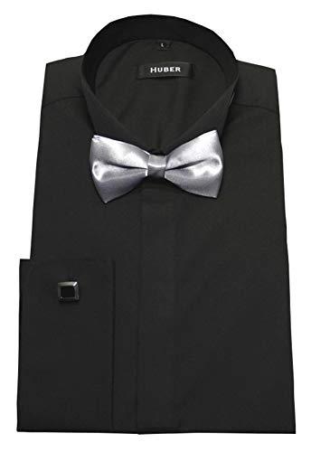 HUBER Smokinghemd schwarz mit Fliege XL
