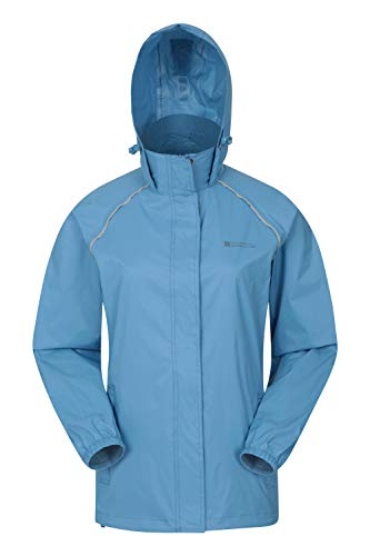 Mountain Warehouse Chaqueta Pakka para Mujer - Chubasquero Impermeable, Chaqueta Informal Plegable, Transpirable, Ligera, Abrigo cómodo para Mujer - para Viajar, Caminar Azul Claro 34
