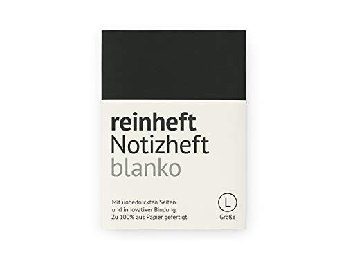 reinheft Notizheft blanko mit Umschlag aus Führerscheinpapier, Inhaltspapier nachfüllbar (Schwarz, L - Din A5)