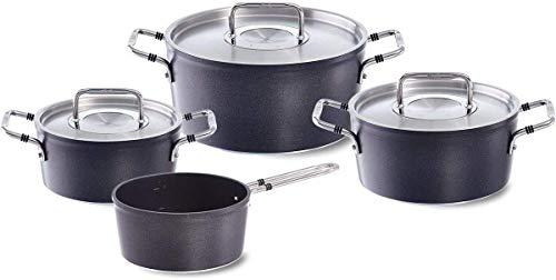 Fissler luno / Aluminium-Topfset beschichtet, 4-teilig , Kochtöpfe mit Metall-Deckel (3 Kochtöpfe, 1 Stielkasserolle-deckellos) - Induktion