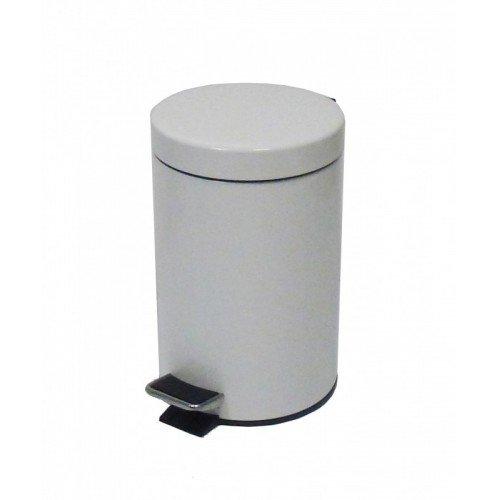 JVD - Poubelle ronde à pédale 5 L blanc - extérieur métal - bac intérieur plastique
