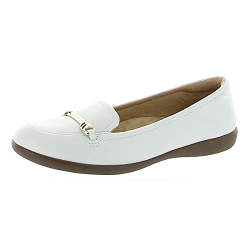 Naturalizer Women's Florence Shoes Loafer, White Leather, 10