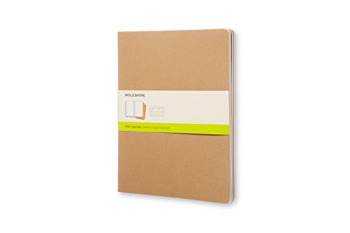 Moleskine Cahier Journal, Soft Cover, XXL (8.5' x 11') Plain/Blank, Kraft Brown, 120 Pages (Set of 3)