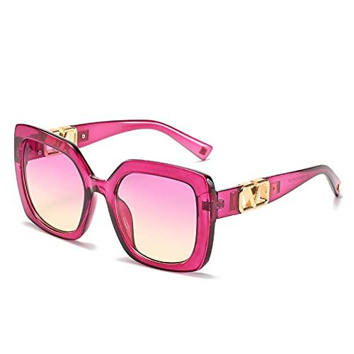 Gafas De Sol Gafas De Sol Cuadradas Unisex para Mujer, Gafas De Sol De Estilo A La Moda para Hombre, Gafas De Montura Grande De Gran Tamaño para Mujer, Leopardo Negro Uv400, Morado