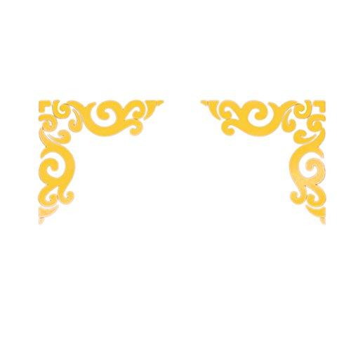 Ukallaite Decorate Your Life - Juego de 2 pegatinas decorativas para pared con espejo, 40 cm x 40 cm, acrílico, Dorado, 60 x 60 cm