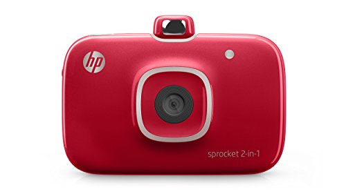 HP Sprocket 2-in-1 Portable Photo Printer & Instant Camera, print social media photos on 2x3' sticky-backed paper - Red (2FB98A)