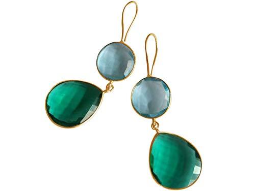 Gemshine Damen Ohrringe grüne Turmalin und Blautopas Quarz Tropfen. 925 Silber oder vergoldete Ohrhänger. Nachhaltiger, qualitätsvoller Schmuck Made in Spain, Metall Farbe:Silber vergoldet
