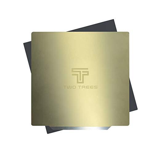 Adaskala ZWEI BÄUME 235 * 235 mm, Federstahl-PEI-Blatt-Druckbett + magnetischer Aufkleber mit Kleberücken für 3D-Drucker TEVO Tarantula Pro/TEVO Flash/Sapphire Pro