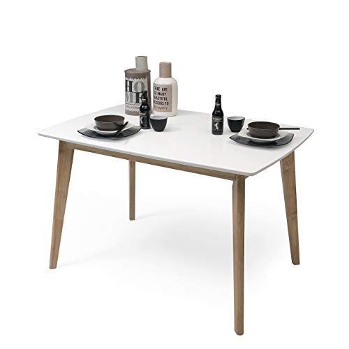 Homely - Mesa de Comedor-Cocina Extensible de diseño nórdico MELAKA sobre Lacado Blanco de 120/160x80 cm y Patas de Madera de Roble