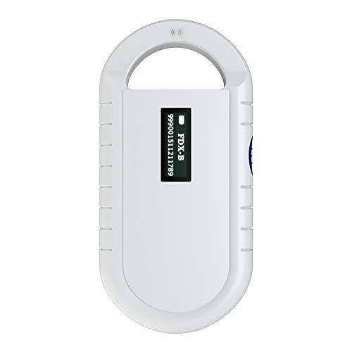 Escáner de microchip para mascotas blanco, lector RFID de chip animal portátil universal, soporte de pantalla con retroiluminación ISO 11784/11785, FDX-B, RFID ID64 para animales/mascotas/perros /