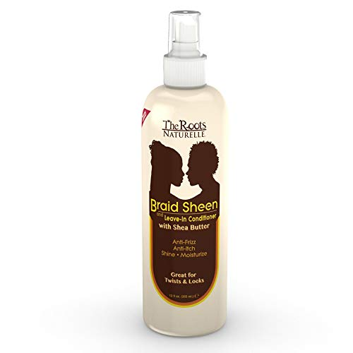 The Roots Naturelle Braid Sheen Braid Spray (1 Bottle -12 Fluid Ounces). Hair Moisturizer Enriched with Vitamins and Essential Oils