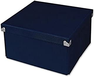 "Pop n' Store Decorative Storage Box with Lid, Collapsible and Stackable, Medium Square Box, Interior Size (9.75""x9.75""x5.75""), Navy"