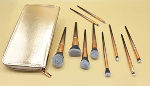 Lot de 10 pinceaux de maquillage professionnels avec étui doré pour femme - Sans cruauté envers les animaux - Poils synthétiques doux de haute qualité -