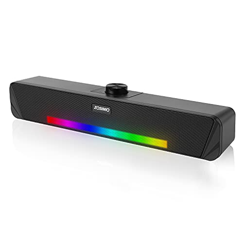 ZISIMIO Computer Speakers, Mini Soundbar for PC, Stereo Sound Gaming Desktop Speakers with RGB Rhythm Lights, USB Powered& AUX Wired Speakers for PC/Laptop/Tablet/Game Machine/TV/Smartphone