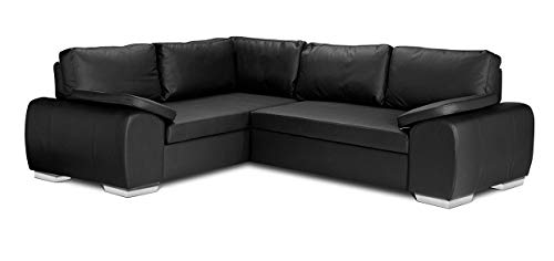 ENZO - CORNER SOFA BED WITH STORAGE - FAUX LEATHER - LEFT HAND SIDE ORIENTATION (BLACK)
