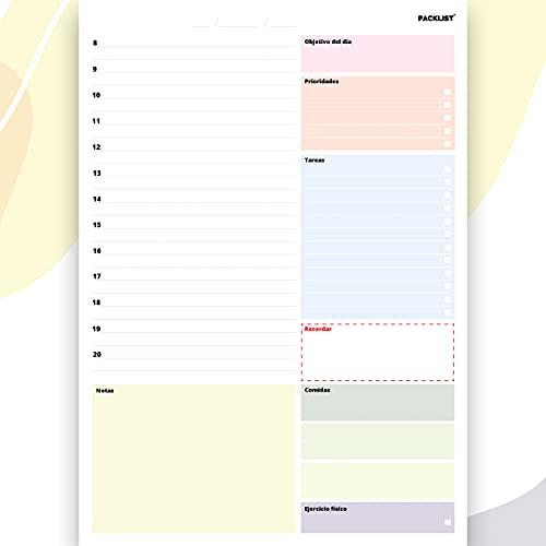 PACKLIST Planificador Diario, Agenda 2021 Día por Página - Organizador Día A4, Agenda Diaria para Productividad - Calendario Perpetuo Vista Diaria - Agenda Planificador Perpetuo - Day Planner 50 Hojas
